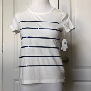 Gap NWT white with blue sequin top